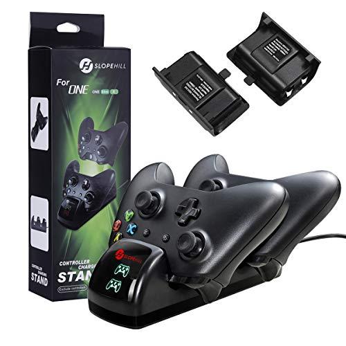 Doppia Stazione di Ricarica per Xbox One, Slopehill Caricabatterie Base di Ricarica con 2 Batterie Ricaricabili da 1200mAh per Xbox One / One S / One Elite Wireless Controller Charger,Nero