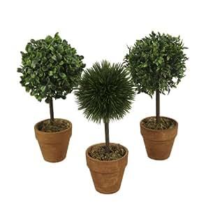 Bellafiora 03AMAZ016230 Fleurs Artificielles Mini Arbre Boule Assortis Vert