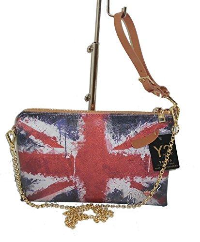 BORSA CLOCHE YNOT ? D303 DONNA STAMPA FLAG GB UK PAINT CON MANICO E TRACOLLA IN METALLO