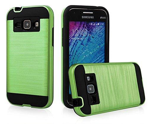 EGO® Hard Case Schutz Hülle für Samsung J100 Galaxy J1, Pink Metallic Effect Aluminium Brushed Handy Cover Schale Bumper Etui Grün