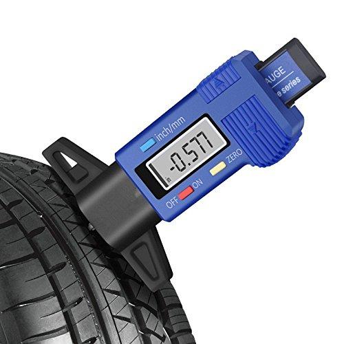 GZQ Medidores de la Profundidad del Dibujo del neumático, Digital LCD Indicador de Profundidad de Banda de Rodadura,Medidor de Motocicletas Bicicletas Camiones,Coche (Azul)