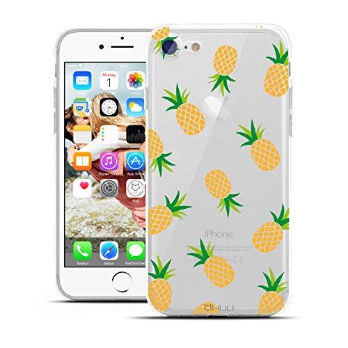 HULI Design Case Hülle für Apple iPhone 7 Handy im Ananas Design - Handyhülle aus TPU Silikon - Schutzhülle klar mit Obst Pineapple - Transparent & Slim für Dein Smartphone