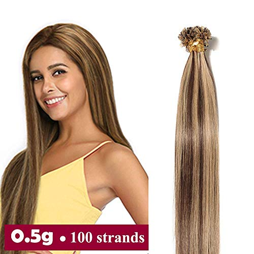 Extension capelli veri cheratina 100 ciocche - 45cm u tip hair extensions colla 100% remy human hair naturali umani 50g #4p27 marrone medio mix biondo scuro