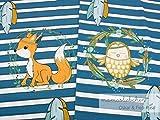 Mamasliebchen Jersey-Stoff Oskar & fiep #Teal (ca. 0,6m / 1Panel) Fuchs Eule Panel