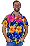 Originale King Kameha | Funky Camicia Hawaiana | for Men | XS – 12 x L | Maniche Corte | Front-Pocket | Hawaiian-Print | Grande Fiore Estate | Blu Blue XX-Large