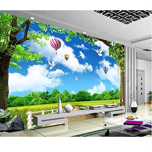 Rureng 3D Tapete Fototapete Benutzerdefinierte Wandbild Wohnzimmer Baum Wiese Landschaft 3D Malerei Bild Sofa Tv Hintergrundbild-250X175Cm -