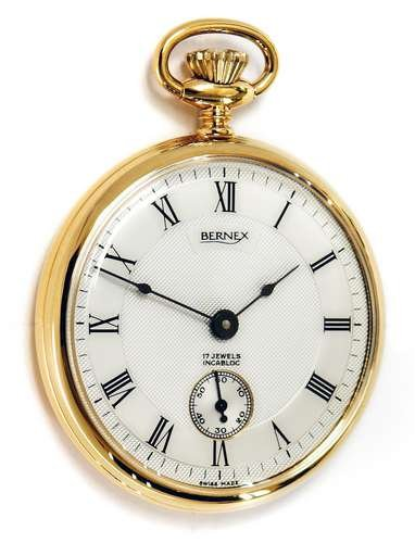 Bernex-Swiss-Made-Mechanical-Gold-Plate-Open-Face-Pocket-Watch