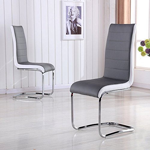 Schindora® Faux Leather Dining Chairs with High Back and Chrome Legs Grey with White Side (6 chairs)