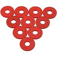 yibuy 5pares 2,5x 0,3mm Gel de sílice correa para guitarra Locks bloques antideslizante 9mm Agujero Diámetro instrumento musical accesorio, rojo
