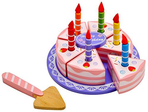 Idena tarta de cumpleaños de madera 15tlg. Contenido: 6unidades pastel y velas con llamas además de bandeja para pasteles, tartas y pasteles decoración para piezas de fieltro con ayuda de puntos de velcro zerteil y de nuevo equilibrio