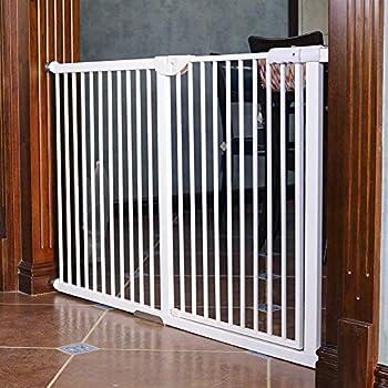 LNDDB Barrière très Haute pour Animaux domestiques pour Chiens, Chats, barrière de sécurité pour Portes, Couloir d'escalier, métal Blanc, Largeur de 71-173cm (Taille: Largeur 118-124cm)