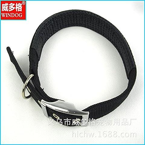 ZPP-Artículos para mascotas Pet de alta calidad collar de espuma de collar de perro collar de perro hebilla de aleación,Negro,2.0cm*50cm.