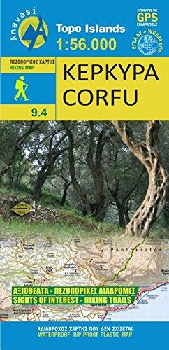 Anavasi 9.4: Corfu / KEPKYPA / Korfu Wanderkarte 1:56.000 ( Griechische Insel, Ionische Insel) mit touristischen Informationen, wasser- und reißfest - Anavasi Maps -