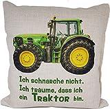 Kissen Traktor John Deere Trecker Spruch Ich schnarche nicht Geschenk Geburtstag Landwirt Bauer Schnarchen Leinenoptik