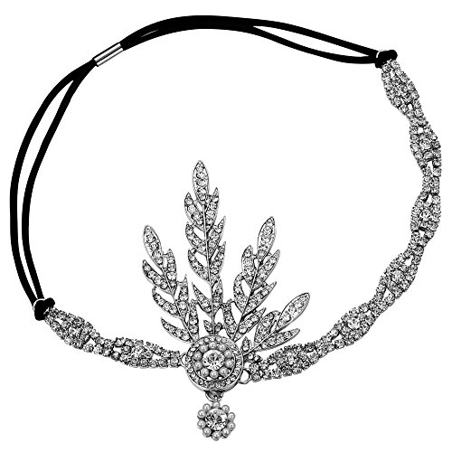 BABEYOND 1920s Headpiece Flapper Headpiece Vintage 1920s Headband Great Gatsby Accessories Women Roaring 20's Accessories with Gift Box (Silver)