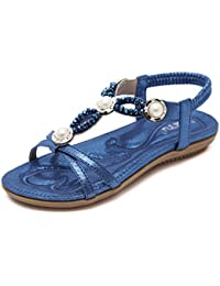 b60b0a2cf2bc Huaishu Damen Sandalen Frauen Strand Sommer Mädchen Schöne Casual Urlaub Schuhe  Damen Cool Bohemian Soft Perlen