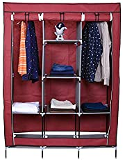 Shopper 52 Fancy & Portable Fabric Collapsible Foldable Clothes Closet Wardrobe Storage Rack Organizer Cabinet Cupboard Almirah 3 Door Wardrobe Collapsible Wardrobe - 88130A