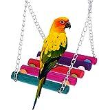 Roblue Vogel Spielzeug Schaukel Kauspielzeug Papagei Zubehör Bunt Holz Riesenrad Papageienspielzeug für den käfig