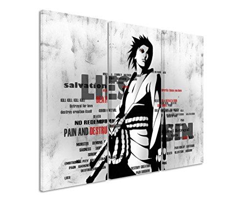 Leinwandbild 3 teilig Sasuke_Naruto_Shippuuden_3x90x40cm (Gesamt 120x90cm) _Ausführung schöner Kunstdruck auf echter Leinwand als Wandbild auf Keilrahmen