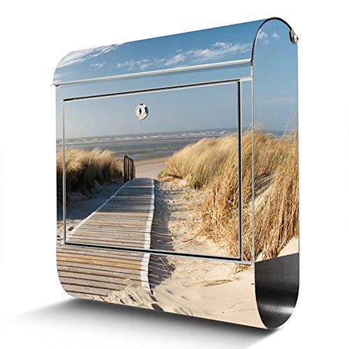 BANJADO Edelstahl Briefkasten mit Zeitungsfach, Design Motivbriefkasten, Briefkasten 38x43,5x12,5cm groß Motiv Dünen