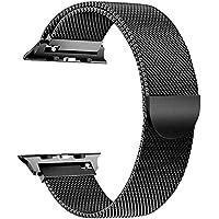 Ibander Apple Watch iWatch cinghie per serie 3/2/1in acciaio INOX milanese loop metal accessori di ricambio bracciale da polso con chiusura a calamita unico grande piccolo argento nero oro oro rosa, Nero , 42 mm