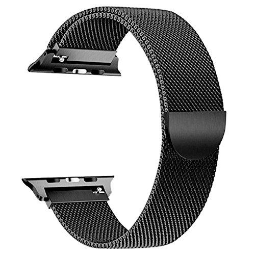 iBander Milanaise-Ersatz-Armband für Apple Watch / iWatch Serie 3/2/1,Edelstahl, mit einzigartigem Magnet-Verschluss, in verschiedenen Größen und Farben, für Männer und...