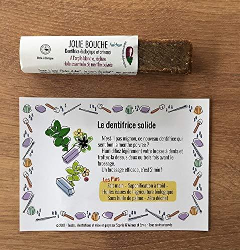 Dentifrice Solide Bio, Vegan 30g, HE Menthe Poivrée, argile blanche & réglisse, sans fluor, durée d'utilisation 6 mois et plus.