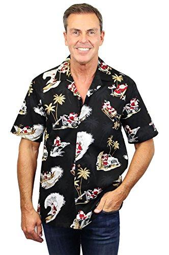 Pacific Legend | Original Hawaiihemd | Herren | S - 4XL | Kurzarm | Front-Tasche | Hawaii-Print | Christmas Weihnachtsmann | Schwarz Schwarz