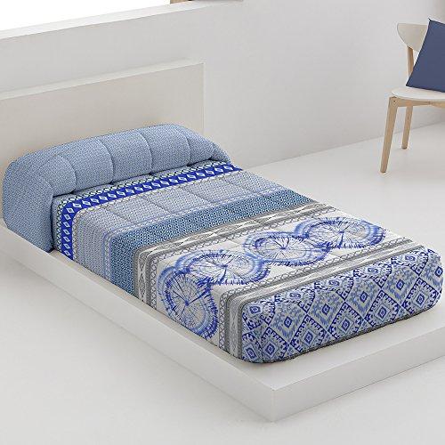 Edredón Ajustable Modelo Atenas, Color Azul, Medida Cama de 90
