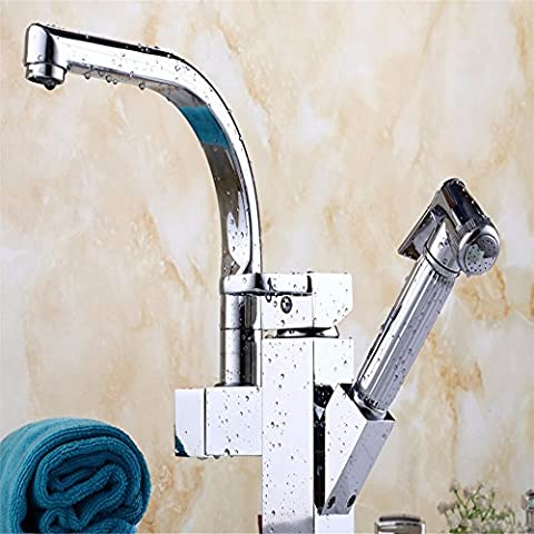 Lostryy Withdrawing Poignée simple seul trou Toilettes robinet chaude et froide en cuivre Arroseur rotatif rétractable Lavabo Robinet