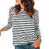 Bestow Camiseta a Rayas con Cuello Redondo y Manga Larga para Mujer Camiseta con Rayas a Rayas y Rayas Casual Mujer(Blanco,M)