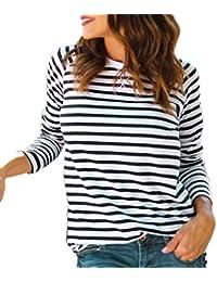 f66b5f4dde59c Bestow Camiseta a Rayas con Cuello Redondo y Manga Larga para Mujer Camiseta  con Rayas a