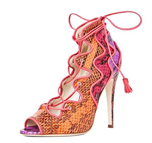 Onlymaker Damenschuhe High Heels Open Freie Toe Lace-Up Schnuersenkel Sandale Rot