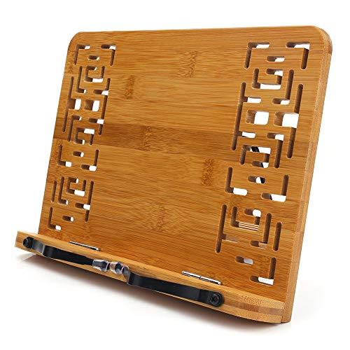 Cicony Bamboo Leseständer Kochbuch Kochbuch Rezepte Küche Buchhalter Ständer Bücherablage für iPads Tablets Halter, Hollow, S - Rezept-halter Für Ipad
