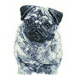 """Kit de punto de cruz """"Pug, algodón, negro/blanco"""