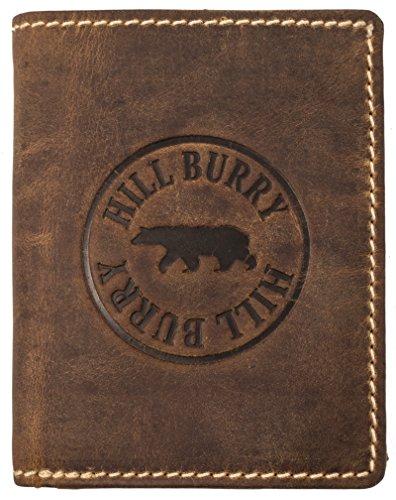 Hill Burry Portafoglio Uomo | Portamonete in vera Pelle di bufalo | Portafoglio uomo in pelle di qualità con un aspetto vintage | Porta Carte di Credito - Portafogli | Porta Banconote, marrone