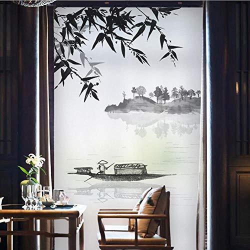 WYLLA Fensterfolie Statisch Dekorative Film Keine Kleber Privatsphäre Film Glasmalerei Glasfolie Für Schiebetüren,50cmx200cm