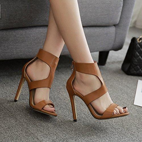 ZHZNVX Die Stilvolle High-Heel Sandalen Thread Ausgesetzt Römische Schuhe Sexy und Elegant High-Heel Sandalen, Schwarz, 38 Sexy High Heel-schuhe