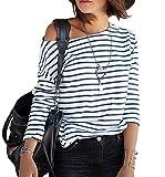 ZEARO Damen Bluse Gestreift Schulterfrei Langarmshirt Top Oberteil T-Shirt