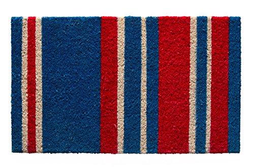 Fußmatte aus Kokos mit Gummirücken von Andiamo, Motiv Stern, robust, strapazierfähig, pflegeleicht, moderne Designs für den Eingangsbereich, für den Außenbereich, Schmutzfangmatte, Größe:40 x 60 cm, Farbe:Blau
