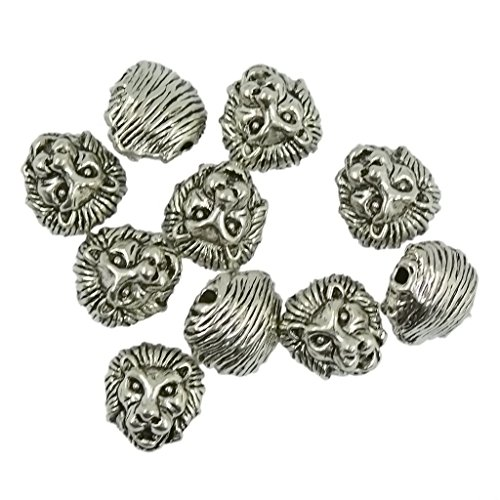 jennysun2010in metallo testa di leone braccialetto collana Collegamento Charm argento oro rosa 10203050100per borsa per braccialetto collana orecchini gioielli artigianato design, Vintage Tibetan Silver Tone, 10 pezzi