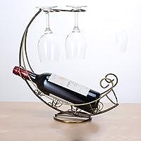 Stile Europeo Coppa Ferro Wine Holder ornamenti Trendy domestica bottiglia di vino della cremagliera Inverted Cup Display Stand Hanging Cup Wine Rack ( colore : Brass )