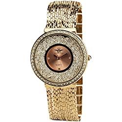 Women's Watch MICHAEL JOHN Rose Quartz Steel Case Analogue Display Strass Steel Band Rose