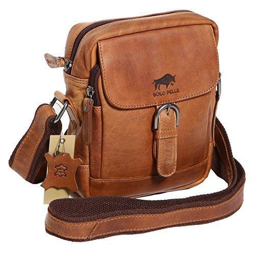 5373e404bbeeb Solo Pelle Messenger Tasche Umhängetasche aus Echtem Leder Model  Hamburg  (Large) (