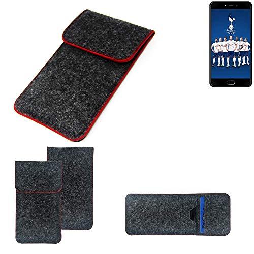 K-S-Trade® Filz Schutz Hülle Für -Leagoo T5C- Schutzhülle Filztasche Pouch Tasche Case Sleeve Handyhülle Filzhülle Dunkelgrau Roter Rand