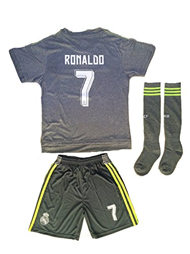 Real Madrid 2015/16niños Away gris Ronaldo # 7jóvenes niños Fútbol Fútbol Jersey y corto y calcetines, 11-13 year Olds, gris