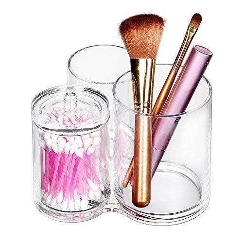 Plastique Cylindre Organisateur de Maquillage Boîte Boîte Rangement de cosmétiques avec Couvercle pour Rouge à lèvres, pinceau de maquillage, pinceau à cils, etc.