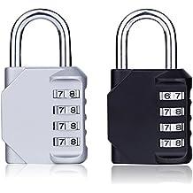 2 Pack Kombination Vorhängeschloss, 4-stellig Kombinationsschloss für Schulgymnastikschloss, Sporttasche, Gepäck,