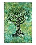 RAJRANG Baum des Lebens Tapisserie Grün Tapisserie Wandbehänge Indische Wandtattoo Dekorative Wandbehang Picknick Strand Blatt Strandtuch Beach Throw Sheet