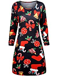 JIANGfu Women Christmas Printed Evening Prom Costume Swing Dress Ladies  Casual Autumn Winter Xmas O Neck Long Sleeve Knee-Length… 773a08921771